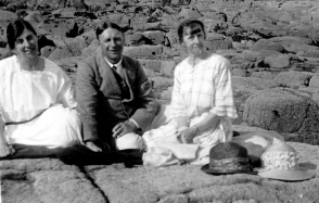 Miss Arthur (right) with Mr Bruton on the beach